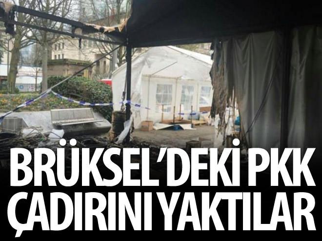 BRÜKSEL'DEKİ PKK ÇADIRI YAKILDI