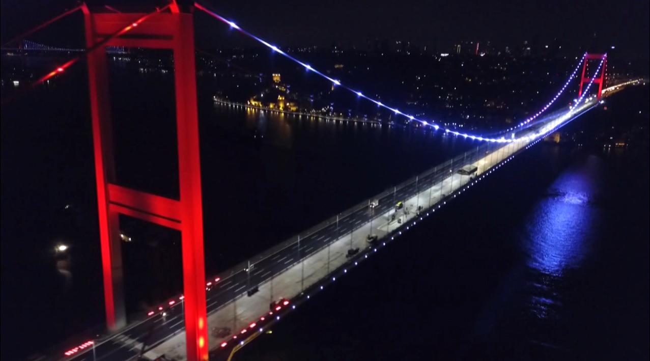 Fatih Sultan Mehmet Köprüsü'deki (FSM) çalışmalarda son durum havadan görüntülendi