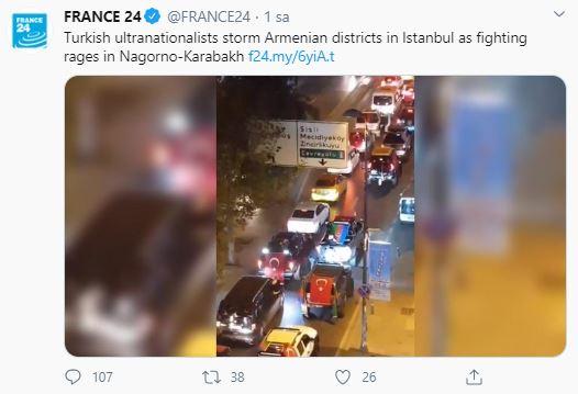 Yalanın batsın France 24! Destek konvoyunun görüntülerini 'Türkler Ermeni mahallelerini bastı' diye haber yaptılar