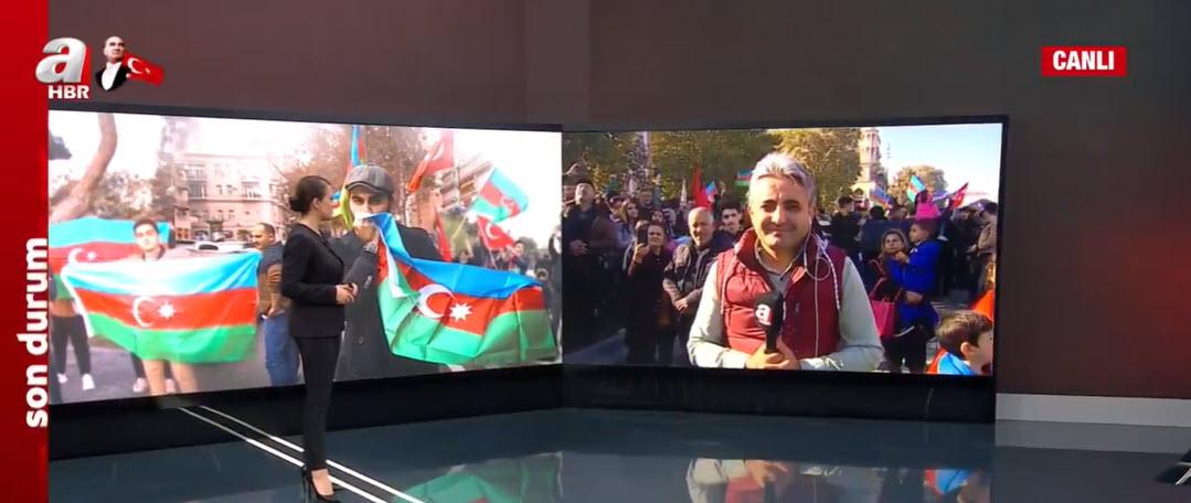 Son dakika: Azerbaycan'da Karabağ sevinci A Haber canlı yayınında! Dikkat çeken pankart: Milli kahraman Selçuk Bayraktar